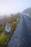 Foggy road in Norway Gamle Strynefjellsvegen Stock Photo
