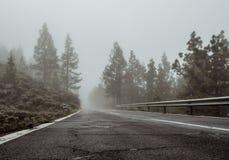 Foggy road to volcano Teide Stock Photos