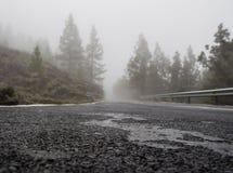 Foggy road to volcano Teide Royalty Free Stock Photography