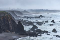 Foggy rugged Northern California Coast Stock Photos