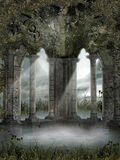 Foggy ruins with vines. Foggy ruins with green vines and grass Royalty Free Stock Photo