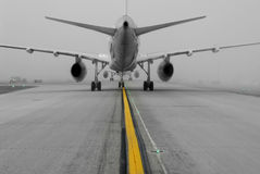 Foggy runway royalty free stock images