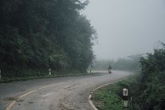 Foggy rural asphalt highway perspective with white line, misty road, Road with traffic and heavy fog. Bad weather driving stock photos