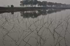 foggy rural landscape and reflection