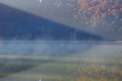Foggy Saint Anne lake Stock Photo