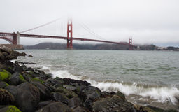 Foggy San Francisco. Fog covering the top of the Golden Gate Bridge Stock Photography