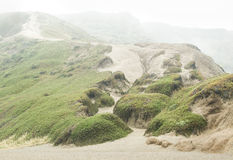 Foggy Sand Dunes and Hill Stock Photos
