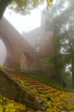 Foggy scenery of Kwidzyn castle and cathedral. Poland Royalty Free Stock Photo