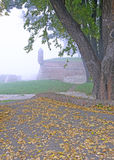 Foggy, scenic autumn morning in the Belgrade fortress Kalemegdan Royalty Free Stock Photo