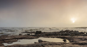 Foggy seaside. At Reposaari, Pori, Finland Royalty Free Stock Photos