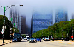 Foggy Skyline and street in Chicago Royalty Free Stock Photo