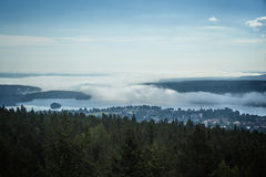 Foggy small town Stock Image