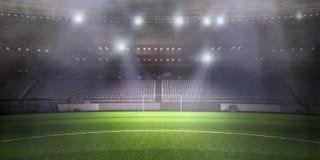 Foggy soccer field . Mixed media royalty free stock photography