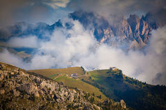 Foggy summer morning in Italy Alps, Dolomites, Europe. Royalty Free Stock Photo