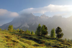 Foggy summer morning in Italy Alps, Dolomites, Europe. Stock Photography