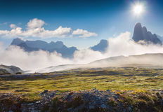 Foggy summer morning in Italy Alps, Tre Cime Di Lavaredo, Dolomi Stock Images