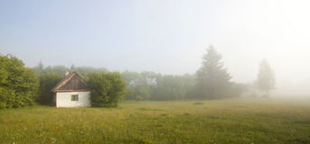 Foggy summer morning in the mountain Royalty Free Stock Photos