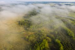 Foggy summer morning nature aerial view. Mist over green meadow with river. Misty nature landscape. From above stock photos