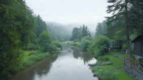 Foggy summer morning. In the valley of the river Shot in Czech Republic Stock Image