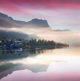 Foggy summer scene on the Grundlsee lake Stock Photo