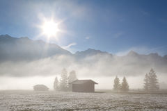 Foggy sunny morning pver winter alpine meadows Royalty Free Stock Photos