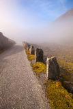 Foggy and sunny road in Norway Gamle Strynefjellsvegen Stock Photo