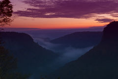 Foggy Sunrise Over Letchworth. Foggy Sunrise Over The Letchworth State Park River Canyon Stock Photos