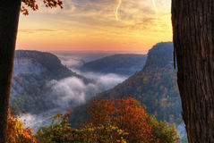 Foggy Sunrise Over Letchworth State Park In New York. Sunrise At Great Bend Overlook In Letchworth State Park, NY Royalty Free Stock Photos