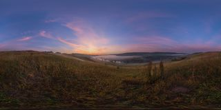 Foggy sunrise at riverside spherical panorama. Spherical 360 degrees seamless panorama in equirectangular projection, panorama of natural landscape on river royalty free stock photography