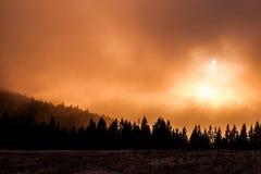 Foggy sunset Stock Photography