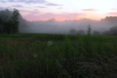 Foggy sunset. Cuyahoga Valley National Park Royalty Free Stock Photography