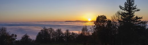 A Foggy Sunset Royalty Free Stock Photography