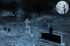 Foggy Supermoon Lit Night at Graveyard With Copy Space Royalty Free Stock Photo