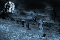Foggy Supermoon Lit Night at Graveyard With Copy Space Royalty Free Stock Photography