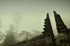 Foggy at temple Sukuh stock photos