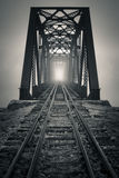 Foggy Trestle. An old trestle bridge in a thick morning fog Stock Photography