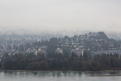 Foggy urban landscape in vancouver bc royalty free stock photos