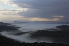 The Foggy Valley. Beauty of nature Stock Photography
