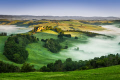 Foggy Valley in the morning, Tuscany Royalty Free Stock Photos