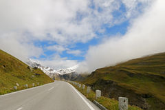 Foggy view of the Grossglockner High Alpine Road Royalty Free Stock Photos