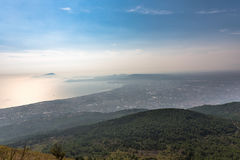 Foggy view of gulf of Naples Royalty Free Stock Photo