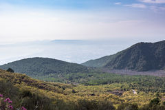 Foggy view of gulf of Naples Royalty Free Stock Image