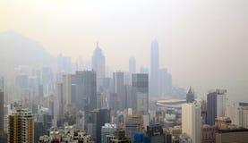 Foggy view of Hong Kong at Sir Cecil's Ride, Braemar Hill, Hong Kong Royalty Free Stock Photography