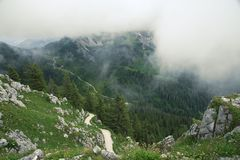 Foggy view from the mount Jenner, Bavaria, Germany Royalty Free Stock Images