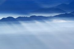 Foggy view from mountains. Foggy winter view from mountains royalty free stock image
