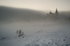 Foggy view at the Orthodox church in winter Royalty Free Stock Images