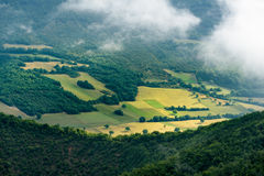 Foggy view of the park Monti Sibillini in Italy Stock Photos