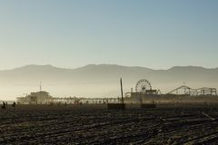 Foggy view at santa monica beach late afternoon stock images