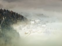 Foggy village Royalty Free Stock Images