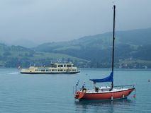 Foggy weather, lake Attersee Royalty Free Stock Photo